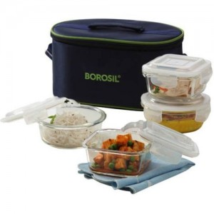 Borosil Transparent  Microwavable Borosilicate Glass 4 Containers Lunch Box(1120 ml)