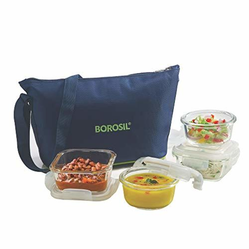 Borosil Transparent glass tiffin set of 4(2pc 320ml square, 2pc 240ml round container) 4 Containers Lunch Box