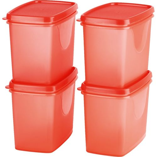 All Time Sleek - 850 ml Plastic Grocery Container(Pack of 4, Red)
