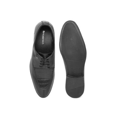 Blackberrys Men Black Leather Textured Formal Derbys