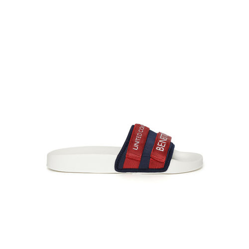 16de96f17411 Buy United Colors of Benetton Men Red   Navy Blue Printed Sliders ...