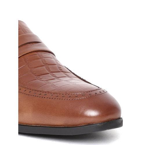 Blackberrys Men Brown Croc Texture Leather Semiformal Slip-Ons