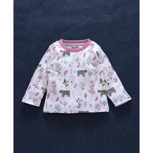 Babyhug Full Sleeves Cotton Night Suit Floral Print - Pink White