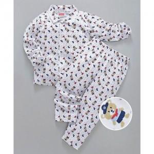 15e01ec85d Babyhug Cotton Knitted Full Sleeves Night Suit Bear Print - White Beige