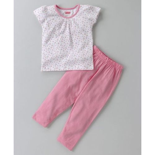 a1467317be Buy Babyhug Short Sleeves Floral Night Suit - Pink White online ...