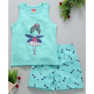 Babyhug Sleeveless Night Suit Fairy & Dragon Fly Print - Sea Green