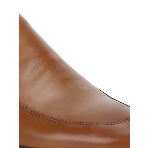 Red Tape Men Tan Brown Leather Formal Slip-Ons