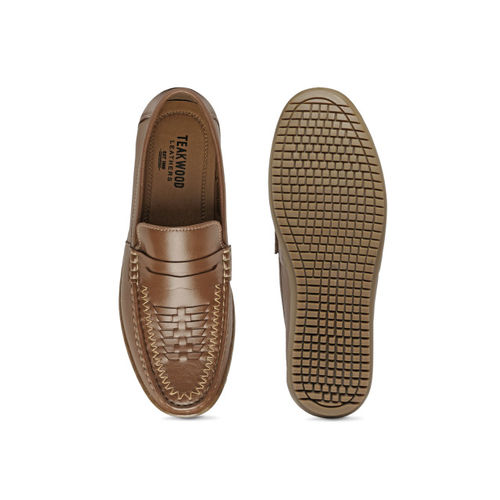 Teakwood Leathers Men Tan Brown Leather Semiformal Shoes