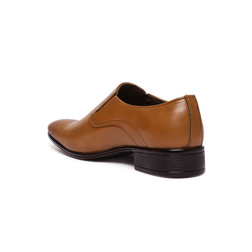 San Frissco Men Tan Textured Slip-On Formal Shoes
