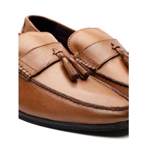 Carlton London Men Tan Brown Leather Semiformal Loafers