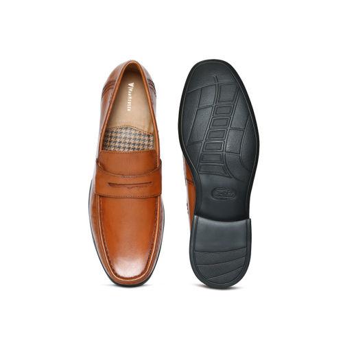 d51bfd4013e Buy Van Heusen Men Tan Leather Loafers online