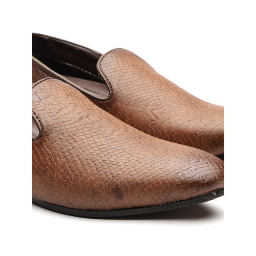 INVICTUS Men Brown Snakeskin Texture Semiformal Slip-Ons