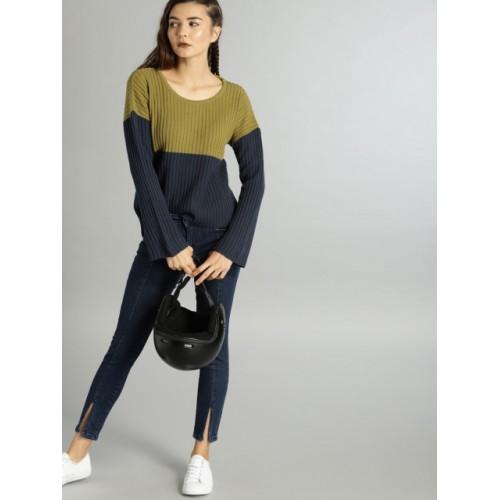 Roadster Women Green & Navy Blue Colourblocked Pullover