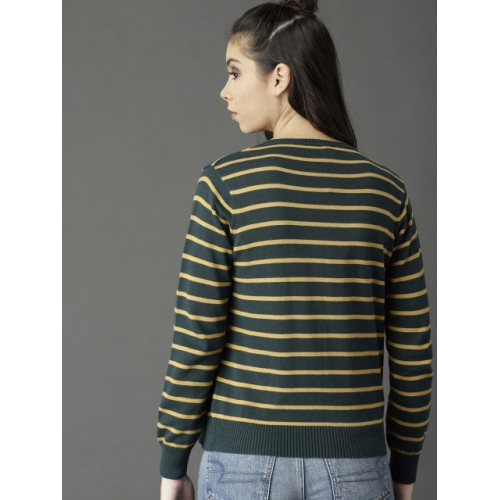 Roadster Women Green & Yellow Striped Cardigan