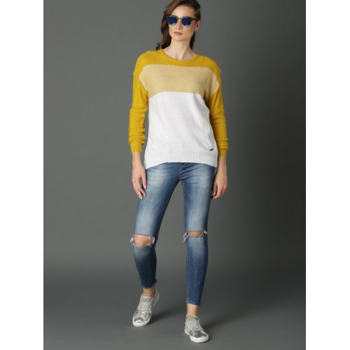 Roadster Women Off-White & Mustard Colourblocked Pullover