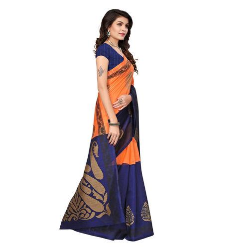 Meia Orange and Navy Blue Colored Ethnic Printed Casual Wear Bhagalpuri Silk Saree
