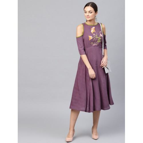 SASSAFRAS Women Purple Solid Fit and Flare Dress