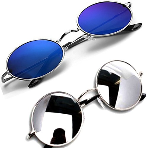 Derry Blue & Silver Round Mirrored Sunglasses