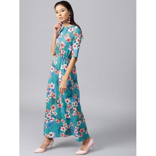 SASSAFRAS Turquoise Blue Floral Print Maxi Dress