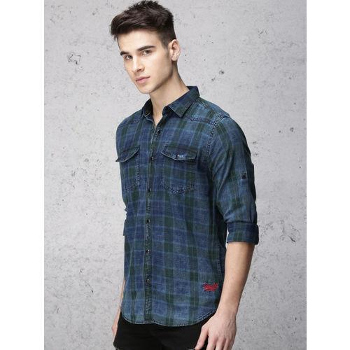 Ecko Unltd Men Blue & Green Regular Fit Checked Casual Shirt