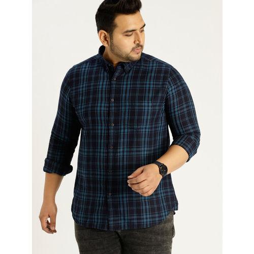 Sztori Men Blue Slim Fit Checked Casual Shirt