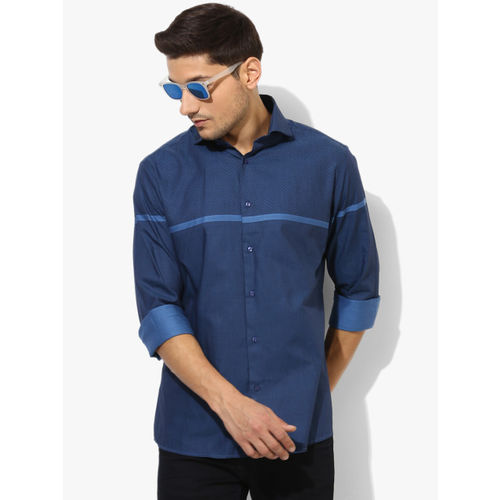 Oxemberg Blue Printed Slim Fit Casual Shirt