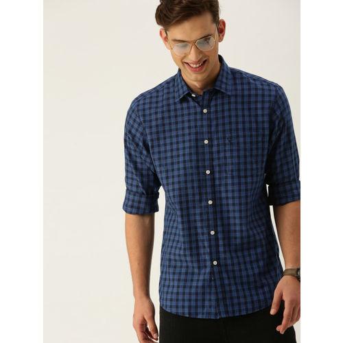 38c9c27779e5 Buy Allen Solly Men Blue Slim Fit Checked Casual Shirt online ...