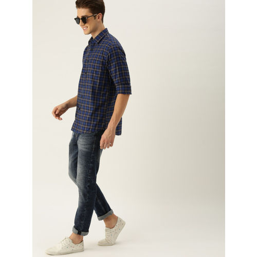 Allen Solly Men Blue & Black Slim Fit Checked Casual Shirt