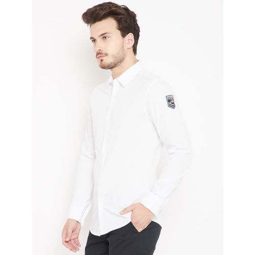 SPYKAR Men White Slim Fit Solid Casual Shirt
