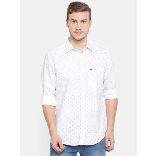 Peter England Casuals Men White Slim Fit Printed Casual Shirt