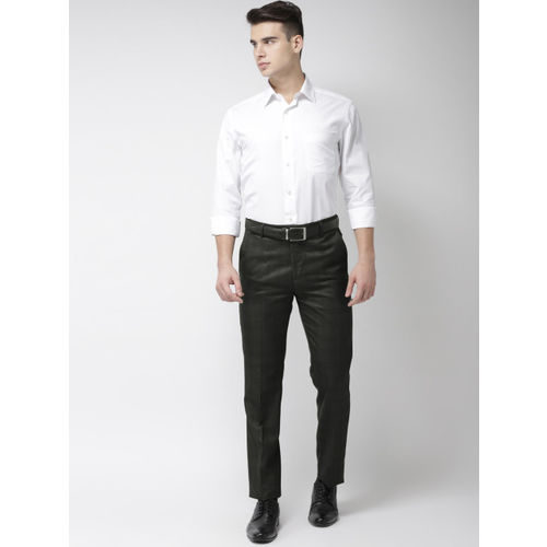 Arrow Men Grey Tapered Fit Checked Formal Trousers