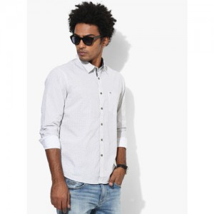 Numero Uno White Printed Slim Fit Casual Shirt
