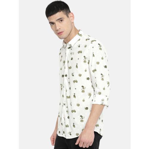 Blackberrys Men White Slim Fit Printed Casual Shirt