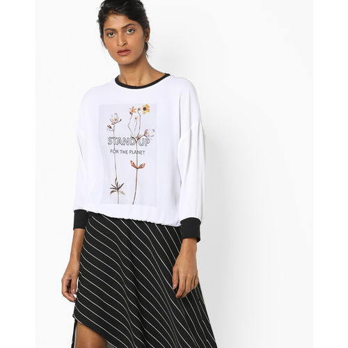 9f13a67c3407 Buy AJIO Printed Crew-Neck Top with Contrast Hems online | Looksgud.in