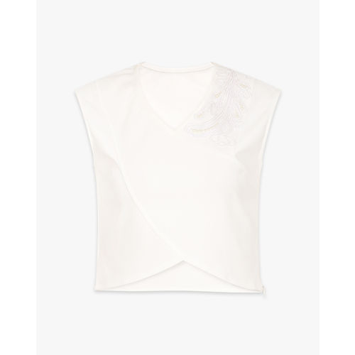 AJIO Sleeveless Crop Top with Chord Embroidery