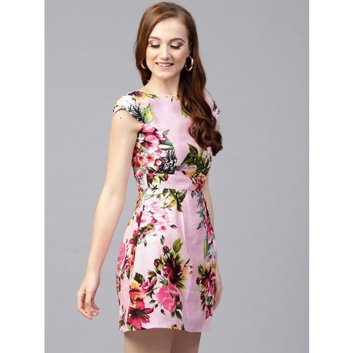 SASSAFRAS Women Pink & Green Printed Fit and Flare Dress