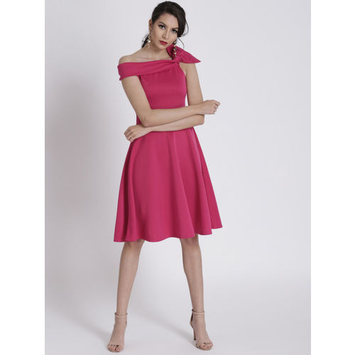SASSAFRAS Pink Off-Shoulder Side Bow Scuba Fit & Flare Dress