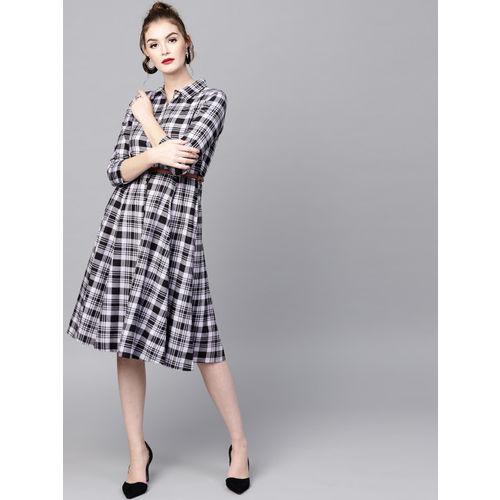 SASSAFRAS Black & Lavender cotton   Checked Shirt Dress