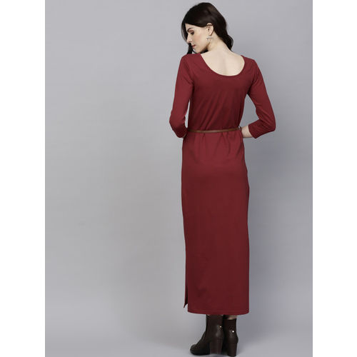 SASSAFRAS Maroon Solid Maxi Dress