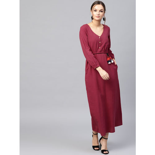 b23e7cec2b Buy SASSAFRAS Women Maroon Solid Maxi Dress online | Looksgud.in