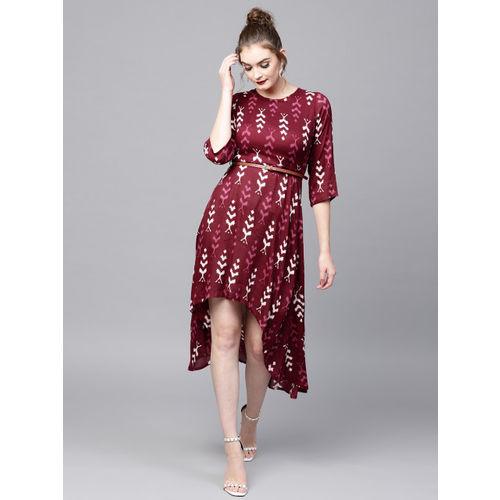 SASSAFRAS Women Maroon Ikat Print High-Low A-Line Dress