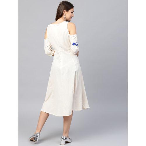 Sassafras Women's Fit and Flare White Dress