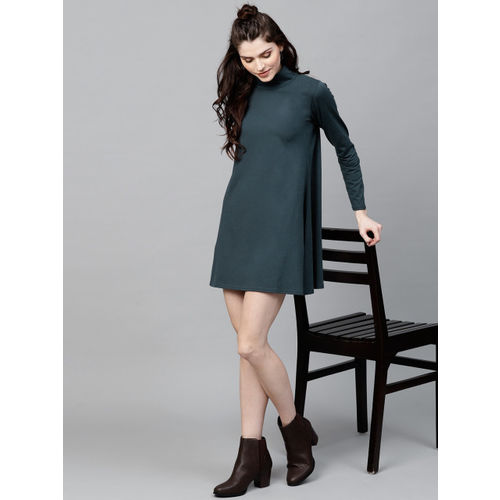 SASSAFRAS Women Teal Green Solid A-Line Dress