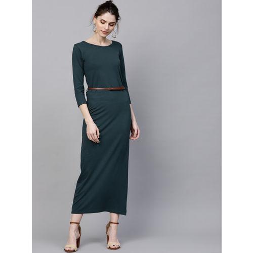SASSAFRAS Women Teal Blue Solid Maxi Dress
