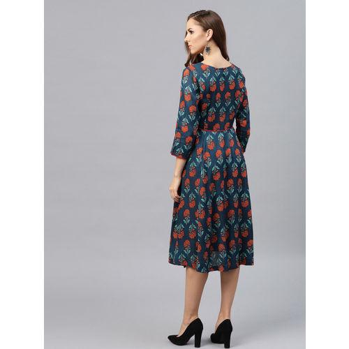 SASSAFRAS Women Teal Blue Printed Fit & Flare Dress