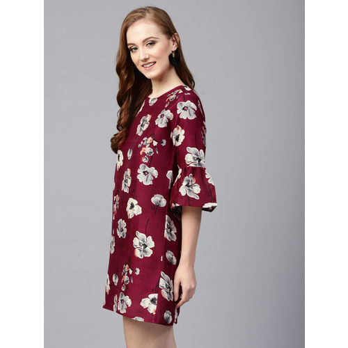 SASSAFRAS Women Burgundy & Grey Floral Print A-Line Dress