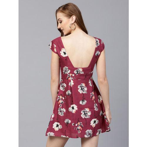 SASSAFRAS Women Burgundy & Grey Printed Fit and Flare Dress