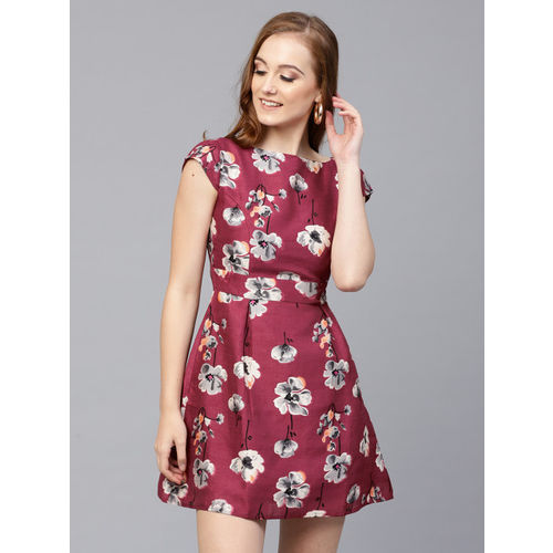 SASSAFRAS Women Burgundy & Grey Printed Fit and Flare Dress