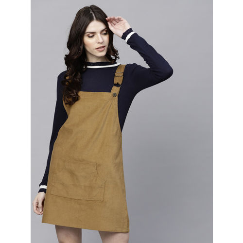 Sassafras Women's Pinafore Brown, Blue Dress