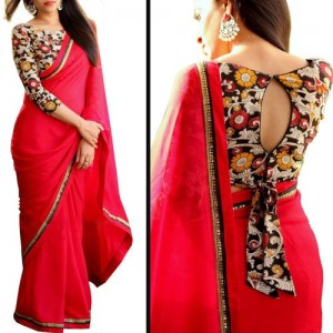 Meia Red Georgette Lace Saree With Blouse